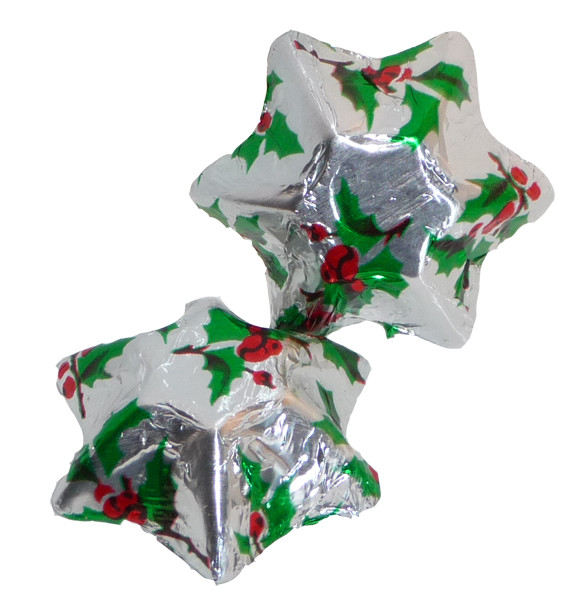 Chocolate Gems - Chocolate Stars - Holly Foil, by Chocolate Gems,  and more Confectionery at The Professors Online Lolly Shop. (Image Number :4258)
