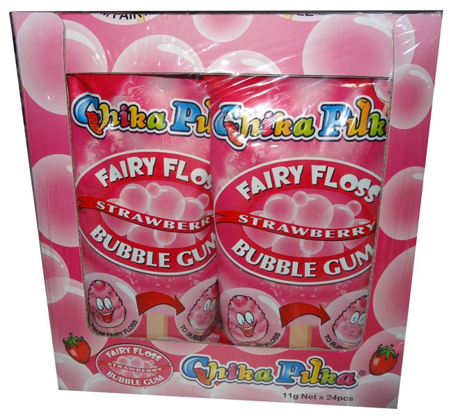 Chika Puka - Fairy Floss Gum -  strawberry flavour, by Candy Brokers,  and more Confectionery at The Professors Online Lolly Shop. (Image Number :4649)