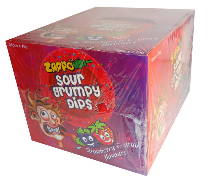 Zappo Sour Grumpy Dips, by Zappo,  and more Confectionery at The Professors Online Lolly Shop. (Image Number :6877)