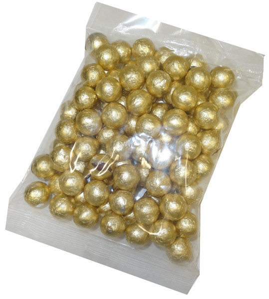 Foiled Milk Choc Gold Balls, by Confectionery Trading Company/Niagara,  and more Confectionery at The Professors Online Lolly Shop. (Image Number :5106)
