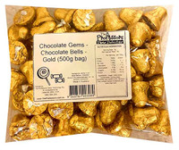 Chocolate Gems - Chocolate Bells - Gold, by Chocolate Gems,  and more Confectionery at The Professors Online Lolly Shop. (Image Number :13509)