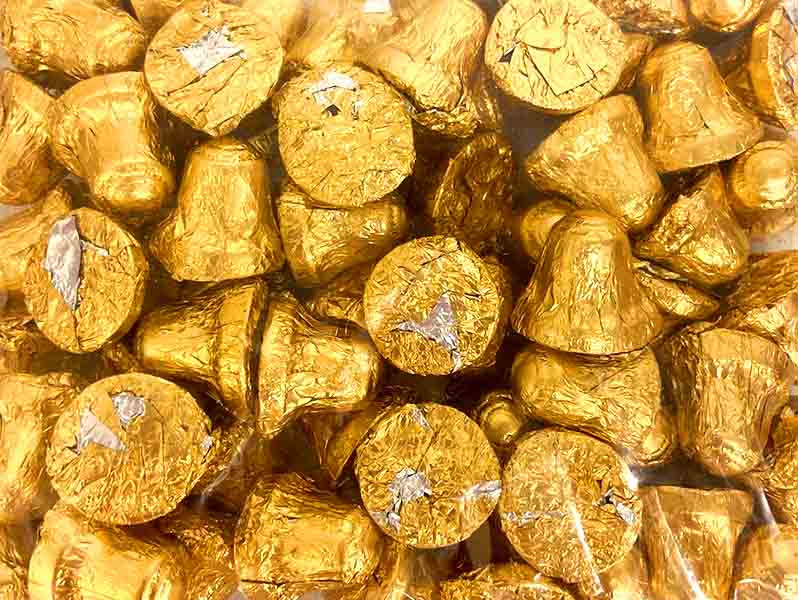 Chocolate Gems - Chocolate Bells - Gold, by Chocolate Gems,  and more Confectionery at The Professors Online Lolly Shop. (Image Number :13510)