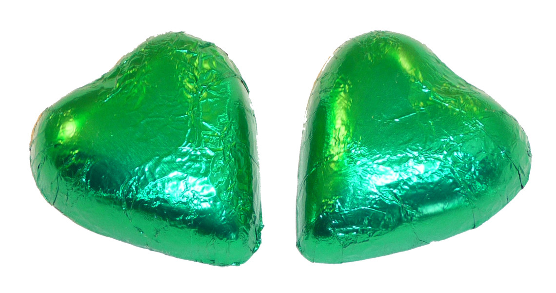 Chocolate Gems - Chocolate Hearts - Green Foil, by Chocolate Gems,  and more Confectionery at The Professors Online Lolly Shop. (Image Number :5095)