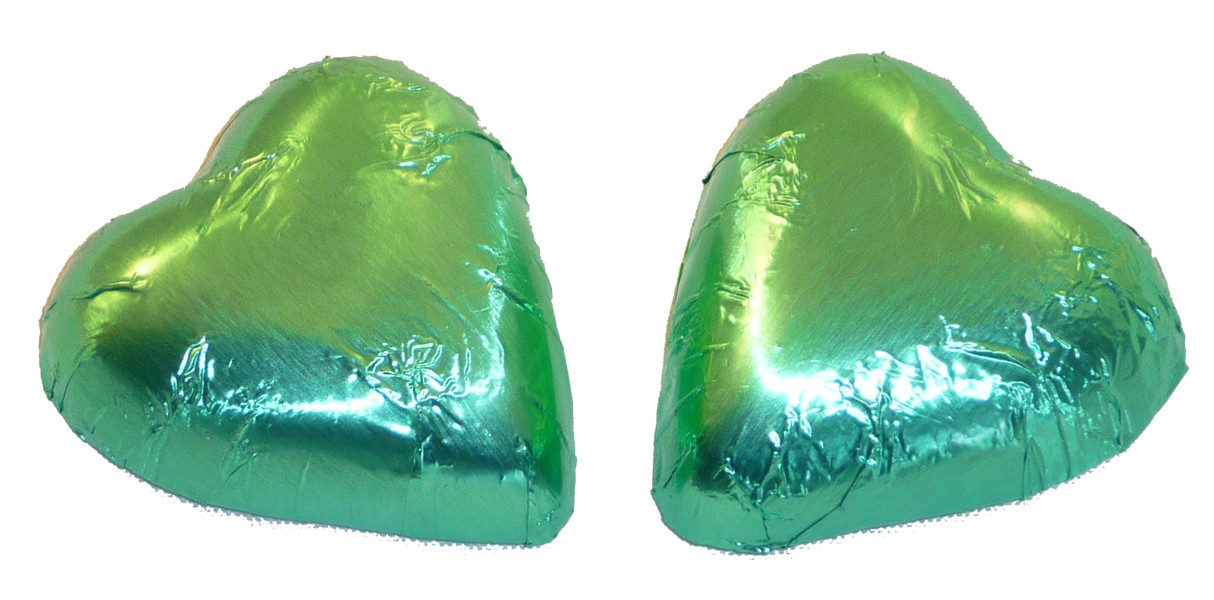 Chocolate Gems - Chocolate Hearts - Ice Green Foil, by Chocolate Gems,  and more Confectionery at The Professors Online Lolly Shop. (Image Number :5099)