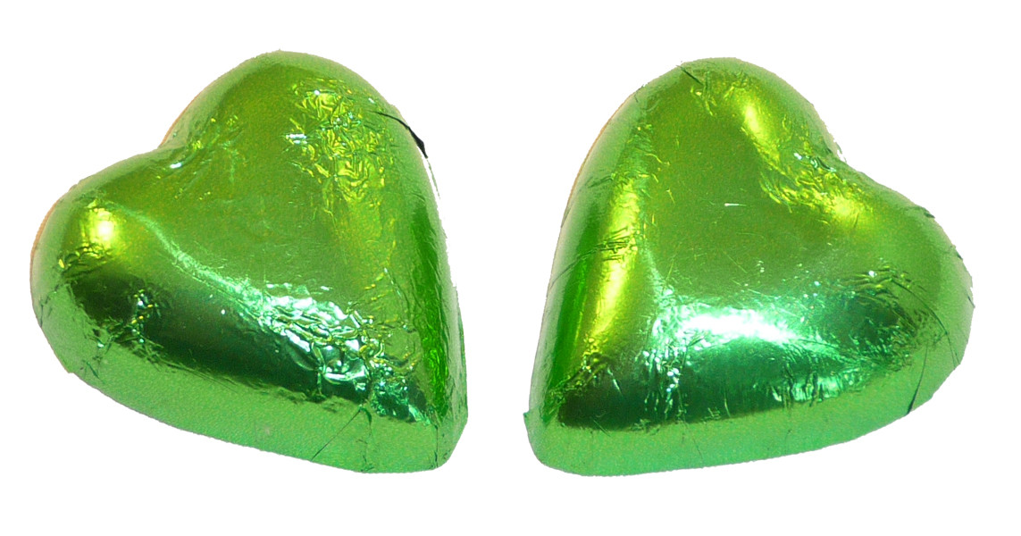 Chocolate Gems - Chocolate Hearts - Lime Green Foil, by Chocolate Gems,  and more Confectionery at The Professors Online Lolly Shop. (Image Number :5102)