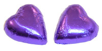 Chocolate Gems - Chocolate Hearts - Purple Foil, by Chocolate Gems,  and more Confectionery at The Professors Online Lolly Shop. (Image Number :5124)
