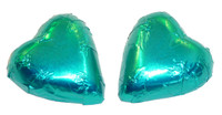 Chocolate Gems - Chocolate Hearts - Teal Foil, by Chocolate Gems,  and more Confectionery at The Professors Online Lolly Shop. (Image Number :5128)