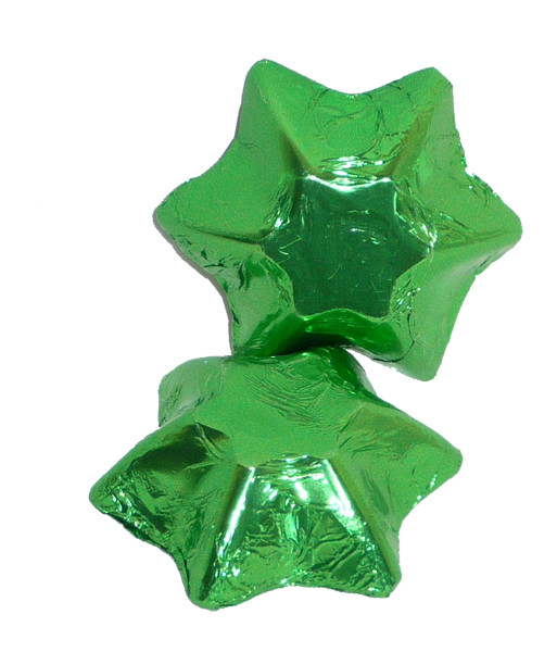 Chocolate Gems - Chocolate Stars - Lime Green Foil, by Chocolate Gems,  and more Confectionery at The Professors Online Lolly Shop. (Image Number :5140)