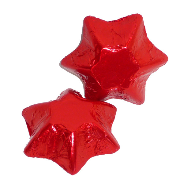 Chocolate Gems - Chocolate Stars - Red Foil, by Chocolate Gems,  and more Confectionery at The Professors Online Lolly Shop. (Image Number :5143)