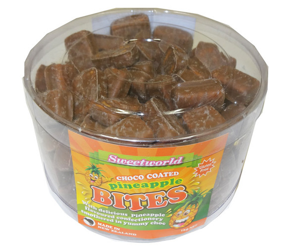 Sweetworld Choc Coated Pineapple Bites, by Sweetworld/Universal Candy,  and more Confectionery at The Professors Online Lolly Shop. (Image Number :5220)