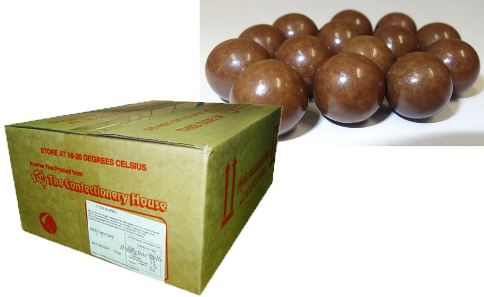 Fruit Choc Balls - Vanilla Brown, by Confectionery House,  and more Confectionery at The Professors Online Lolly Shop. (Image Number :9448)