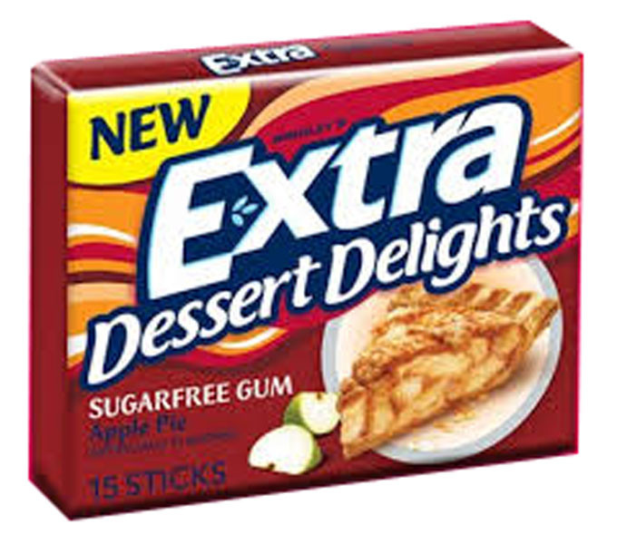 Extra Dessert Delights Apple Pie, by Wrigley,  and more Confectionery at The Professors Online Lolly Shop. (Image Number :6442)
