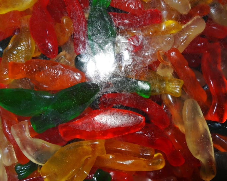 Gummi Fish Assorted Fruit, by Albanese Confectionery,  and more Confectionery at The Professors Online Lolly Shop. (Image Number :6179)