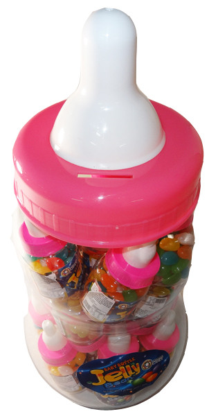 Baby Bottle Jelly Beans - Pink - Assorted Colour Jelly Beans, by Universal Candy,  and more Confectionery at The Professors Online Lolly Shop. (Image Number :6057)