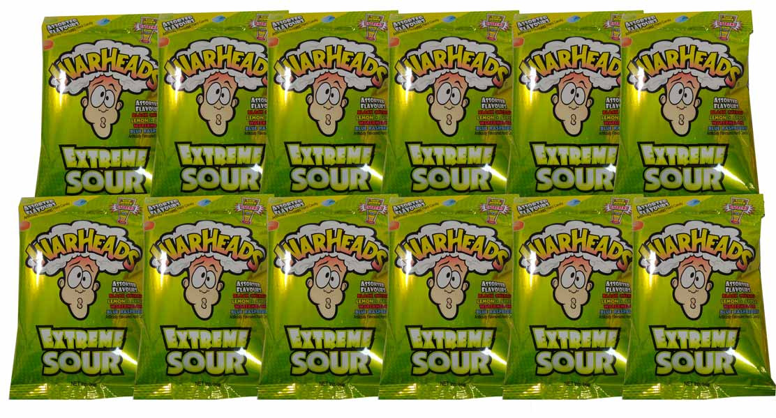 Warheads Extreme Sour Candy Hang Sell Bags, by Warheads,  and more Confectionery at The Professors Online Lolly Shop. (Image Number :5397)