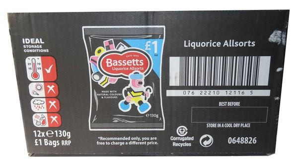 Bassetts Liquorice Allsorts, by Cadbury,  and more Confectionery at The Professors Online Lolly Shop. (Image Number :6180)