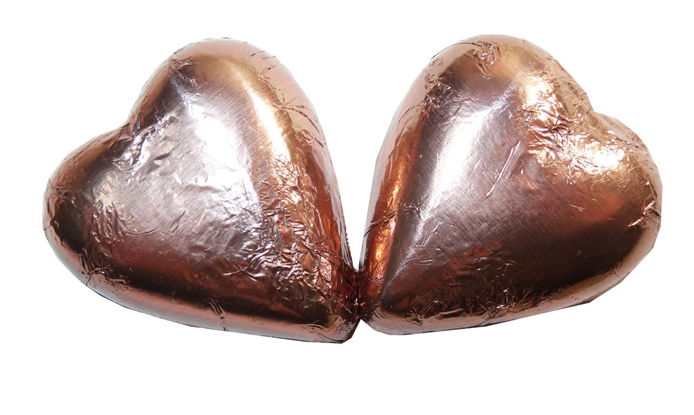 Chocolate Gems - Chocolate Hearts - Mocha Foil, by Chocolate Gems,  and more Confectionery at The Professors Online Lolly Shop. (Image Number :6568)