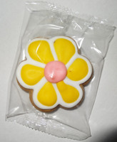 Gingerbread Cookie - Flower - Yellow and White with a Pink Centre, by Krimpis,  and more Snack Foods at The Professors Online Lolly Shop. (Image Number :5439)