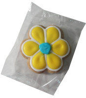 Gingerbread Cookie - Flower - Yellow and White with a Blue Centre, by Krimpis,  and more Snack Foods at The Professors Online Lolly Shop. (Image Number :5511)