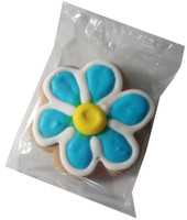 Gingerbread Cookie - Flower - Blue and White with a Yellow Centre, by Krimpis,  and more Snack Foods at The Professors Online Lolly Shop. (Image Number :5510)