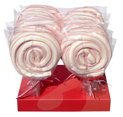 Marshmallow Rollerpops - Pink, by Other,  and more Confectionery at The Professors Online Lolly Shop. (Image Number :5433)