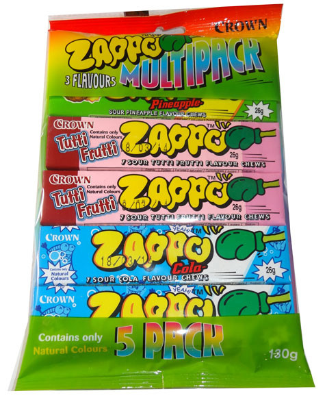 Zappo Chews Multi-Colour, by Crown Confectionery,  and more Confectionery at The Professors Online Lolly Shop. (Image Number :5462)