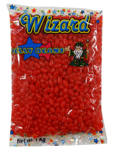 Wizard Mini Jelly Beans - Red with Strawberry Flavour, by Wizard,  and more Confectionery at The Professors Online Lolly Shop. (Image Number :8461)