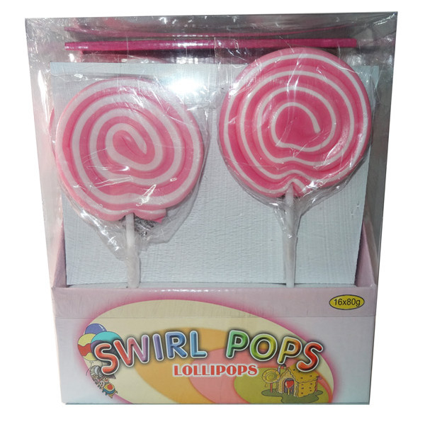 Big Swirl Lollipops - Pink and White, by AIT Confectionery,  and more Confectionery at The Professors Online Lolly Shop. (Image Number :5879)