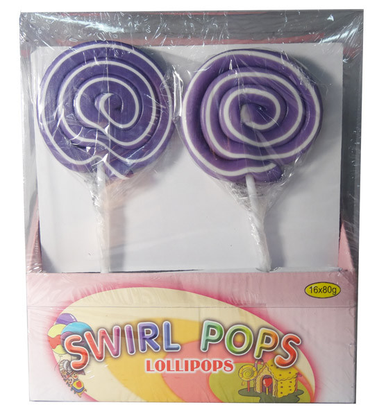 Big Swirl Lollipops - Purple and White, by AIT Confectionery,  and more Confectionery at The Professors Online Lolly Shop. (Image Number :5876)