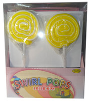 Big Swirl Lollipops - Yellow and White, by AIT Confectionery,  and more Confectionery at The Professors Online Lolly Shop. (Image Number :5875)