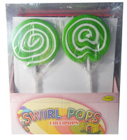 Big Swirl Lollipops - Green and White, by AIT Confectionery,  and more Confectionery at The Professors Online Lolly Shop. (Image Number :5874)
