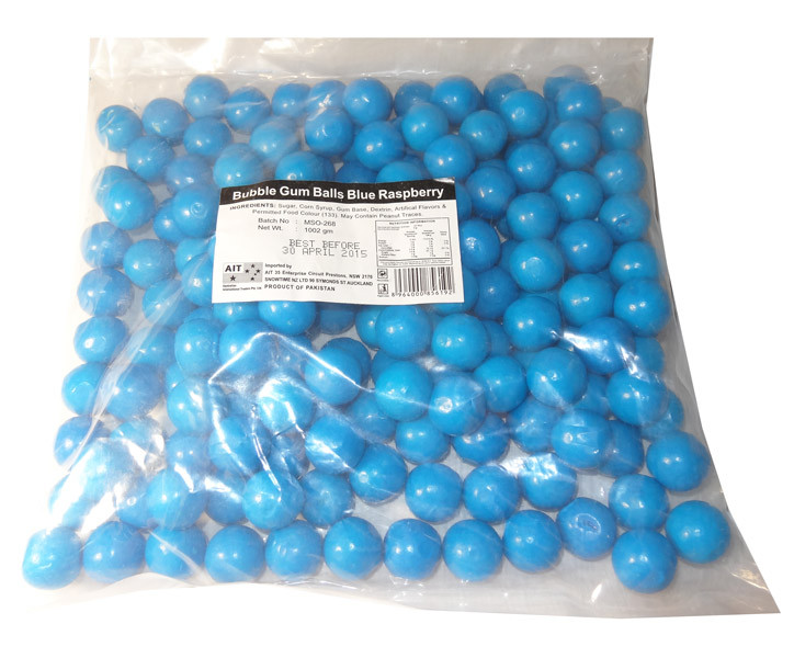 Bubble Gum Balls Blue Raspberry, by AIT Confectionery,  and more Confectionery at The Professors Online Lolly Shop. (Image Number :5834)