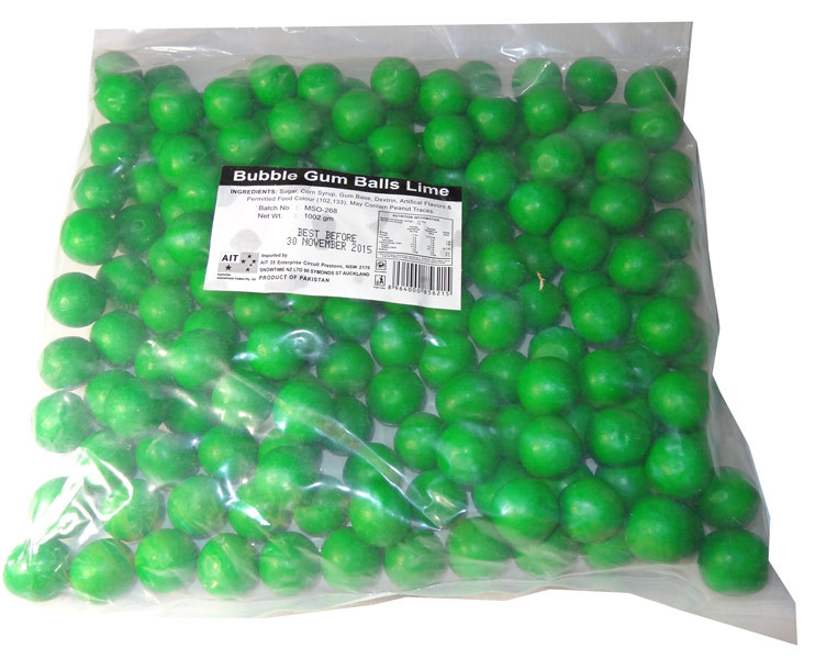 Bubble Gum Balls Lime, by AIT Confectionery,  and more Confectionery at The Professors Online Lolly Shop. (Image Number :5808)