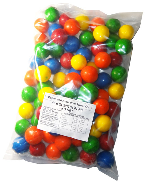 Gobstoppers - Colours 40/25, by Ropan Confectionery,  and more Confectionery at The Professors Online Lolly Shop. (Image Number :6164)