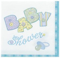 Luncheon Napkins - Baby Blue Stitching, by Meteor,  and more Partyware at The Professors Online Lolly Shop. (Image Number :5680)