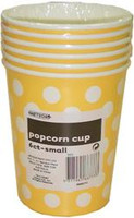 Popcorn Cups - Yellow with White Dots, by Meteor,  and more Partyware at The Professors Online Lolly Shop. (Image Number :5789)