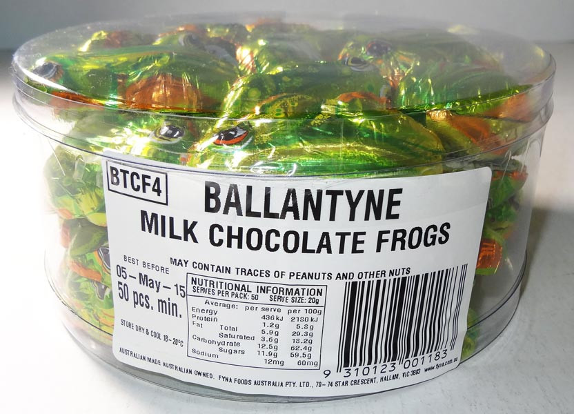 Ballantyne Milk Chocolate Frogs, by Ballantynes,  and more Confectionery at The Professors Online Lolly Shop. (Image Number :5929)