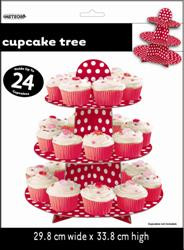 Dots Cupcake Tree - Red, by Meteor,  and more Partyware at The Professors Online Lolly Shop. (Image Number :5957)