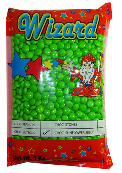 Wizard Choc Buttons - Green, by Wizard,  and more Confectionery at The Professors Online Lolly Shop. (Image Number :8193)
