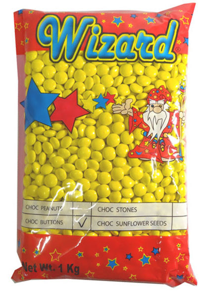Wizard Choc Buttons - Yellow, by Wizard,  and more Confectionery at The Professors Online Lolly Shop. (Image Number :8192)
