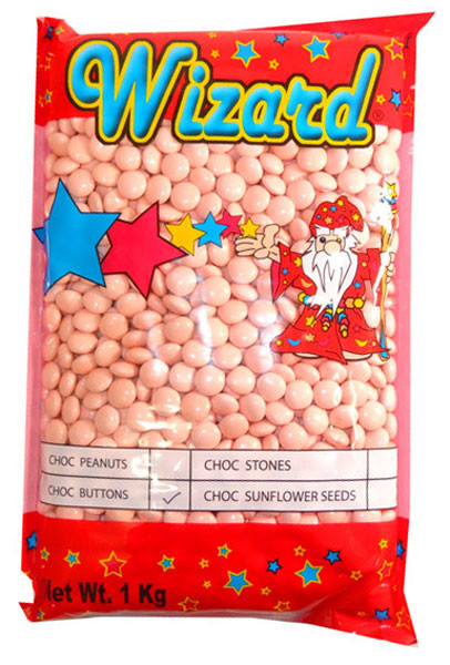 Wizard Choc Buttons - Pastel Pink, by Wizard,  and more Confectionery at The Professors Online Lolly Shop. (Image Number :8196)