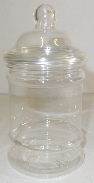 Victorian Round Clear Plastic Jar and more Partyware at The Professors Online Lolly Shop. (Image Number :6309)