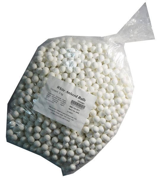 Aniseed Balls - White and more Confectionery at The Professors Online Lolly Shop. (Image Number :6686)