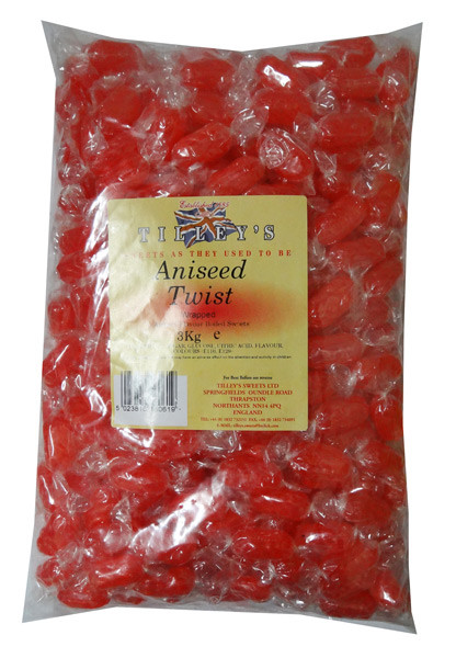 Tilleys Aniseed Twists - Individually wrapped, by Tilleys,  and more Confectionery at The Professors Online Lolly Shop. (Image Number :6800)