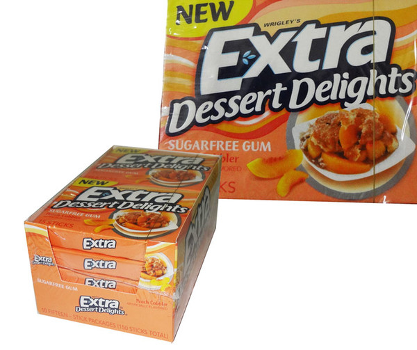 Extra Dessert Delights Peach Cobbler, by Wrigley,  and more Confectionery at The Professors Online Lolly Shop. (Image Number :6425)