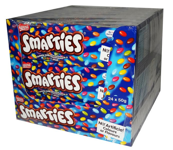 Smarties 50gm, by Nestle,  and more Confectionery at The Professors Online Lolly Shop. (Image Number :6577)