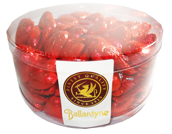 Ballantyne Milk Chocolate Hearts - Red Foil, by Ballantynes,  and more Confectionery at The Professors Online Lolly Shop. (Image Number :6680)