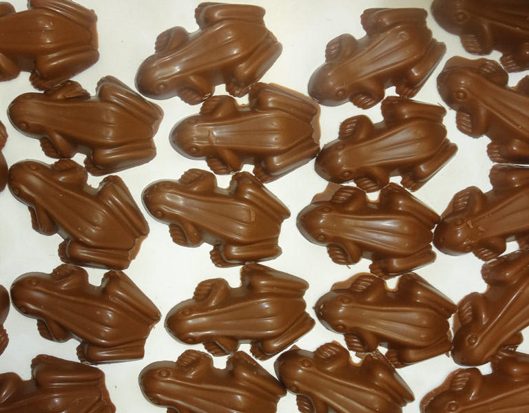 Choc Frogs, by Confectionery House,  and more Confectionery at The Professors Online Lolly Shop. (Image Number :9651)