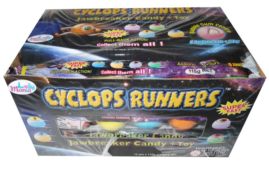 Cyclops Runners - Jawbreaker Candy + Toy, by Lolly Mania,  and more Confectionery at The Professors Online Lolly Shop. (Image Number :6710)