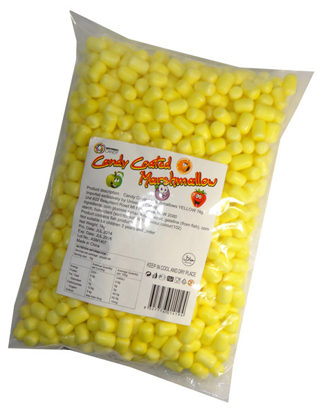 Candy Coated Marshmallows - Yellow, by Universal Candy,  and more Confectionery at The Professors Online Lolly Shop. (Image Number :6881)